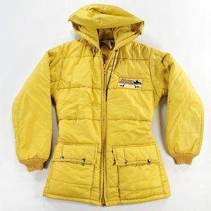 Vtg SNO King Puffer Puffa Gold Jacket Hooded Coat